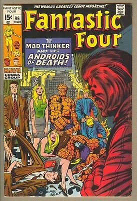Fantastic Four #96 (Mar 1970, Marvel) FN+ 6.5, Mad Thinker & his Androids
