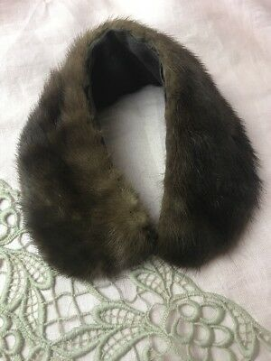 Vtg Real Fur Genuine Mink Collar Pelt For Coat Sweater Medium Dark Brown Scarf