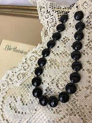 "Antique Victorian French Jet Black Beads Necklace Choker 16"" Vtg Art Deco Glass"