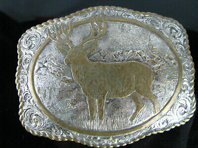 Vintage Crumrine Western Mens Belt Buckle Elk Heavy Silver Plate over Bronze
