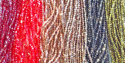 Black Grey Gray Crystal Red Green 6mm Bicone Chinese Crystal Beads 2 Strands