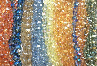 Blue Green Orange 8mm Faceted Flat Coin Chinese Crystal Glass Beads Q2 Strands