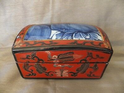 Vintage Chinese Red Hand Painted Lacquer Wood & Blue Porcelain Inlay Jewelry Box