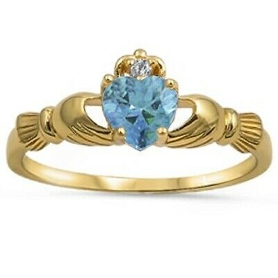 Yellow Gold Plated Aquamarine & CZ Calddagh .925 Sterling Silver Ring
