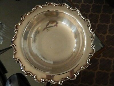 VINTAGE / ANTIQUE LARGE SILVER PLATE FOOTED BOWL ~ ORNATE unmarked  HEAVY 2.5 lb