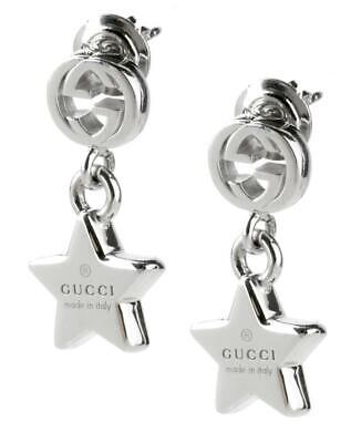 16d42b77c NWT $450 Auth GUCCI 925 ST SILVER TRADEMARK STAR DROP EARRINGS w/Box