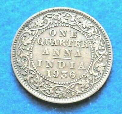 1936 India-british 1/4 Anna, BRN - Very Nice Coin - See Pictures