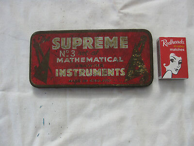 Vintage Supreme Mathmatical Instruments in original Tin DRAWING ART old school