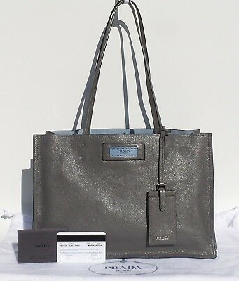 2cc1447584ae $2200 PRADA Etiquette Marmo Glace Calf Gray Leather Blue Suede Tote Bag  1BG122
