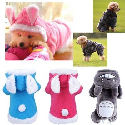 Pet Dog Cat Coat Jacket Clothes Cute Cartoon Jumpsuit Hoodie Warm Winter Apparel