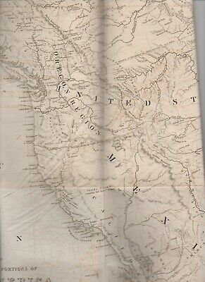 Rare Large 1844 Map of Western North America by R. Greenhow Philadelphia