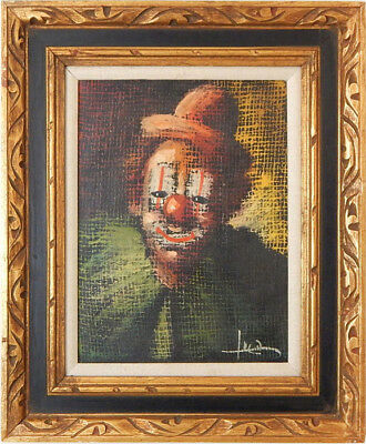 Vintage 50s Clown Painting Signed Luca - Framed Oil on Canvas 16 x 20