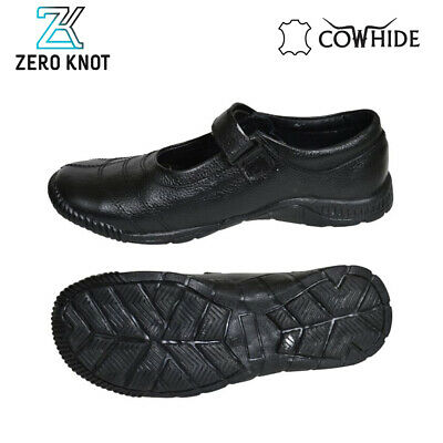 Black Embroidered Original Leather Cow Hide School Shoe For Girls Childrens
