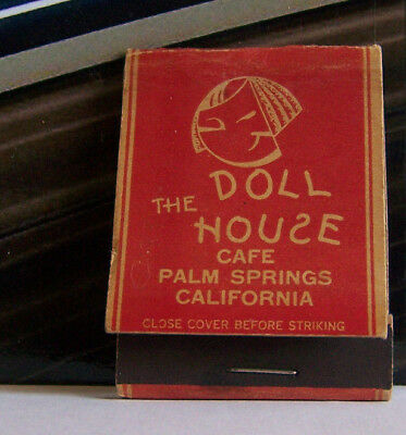 Rare Vintage Matchbook Cover D1 California Palm Springs Doll House Cafe Face