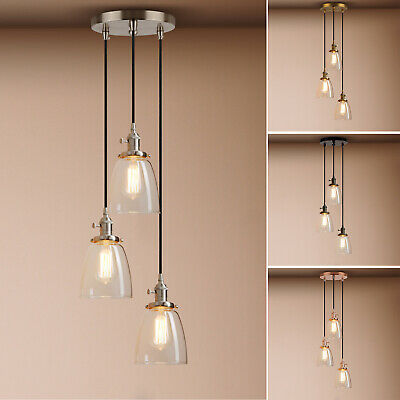 Cluster 1/3 Retro Industrial Bell Glass Ceiling Pendant Lighting Copper Fitting