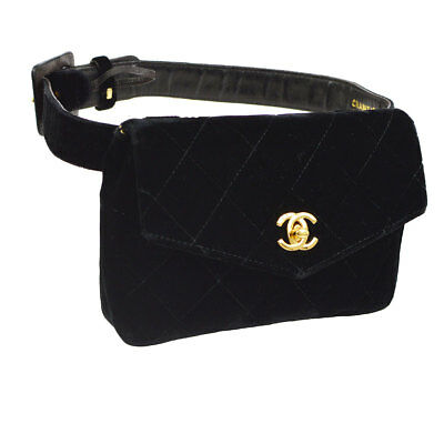 3ab9ad64d17d Authentic CHANEL Quilted CC Waist Bum Bag Black Velvet Leather Vintage  A42180
