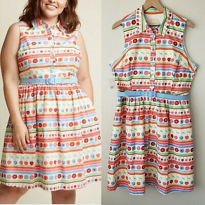 1605afee7f2 ModCloth Fits The Function Dress in Vibrant Stripes Size 1X Shirt Dress  Floral