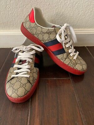 c4ae69e5931 GUCCI NEW ACE Webbed Low Top Sneakers SIZE 7 G (8 US)