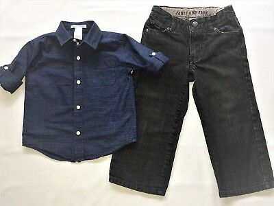 JANIE & JACK Toddler Boys Shirt 18-24 Mo & Denim Pants Size 3