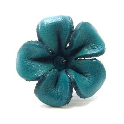 Handcrafted Jasmine Blue Green Leather Floral Adjustable Ring