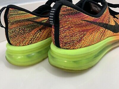 ea1286131ad0 Nike Flyknit Air Max Total Orange Black Volt Fireberry Running Shoes Men s  10.5