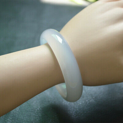 Certified Genuine Natural A Grade Icy White Agate Bangle Flat Bracelet 56~64mm