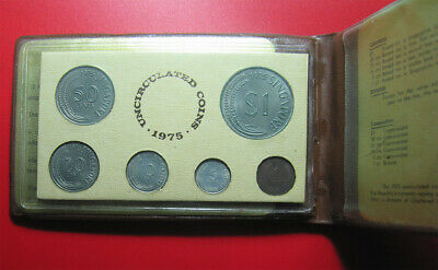 "1975 Singapore (6) Coins Mint Set ""Year Of The Rabbit"" Bunny Brown Wallet+Coa"