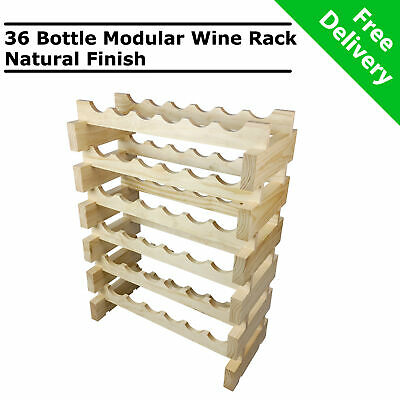 Modular Stackable Wooden 36 Bottle Wine Rack Timber Cellar Storage Stand Wood