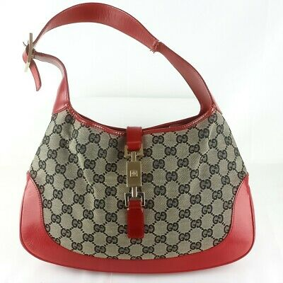 def79f7c8a3 Auth GUCCI JACKIE GG Pattern Canvas Shoulder Bag Purse 001 3306 Red Black  JUNK