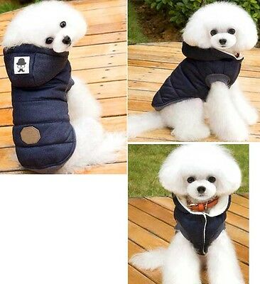 Pet Dog Cat Winter Clothes Padded Hoodie Jacket Coat Puppy Warm Cotton Sweater