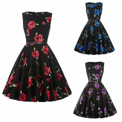 Party Swing Dress Women's Vintage 50s 60s Retro Rockabilly Pinup Housewife HOT