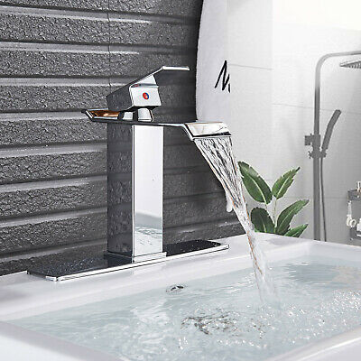 Chrome Waterfall Bathroom Sink Faucet Basin Mixer One Hole Mixer Tap With Cover