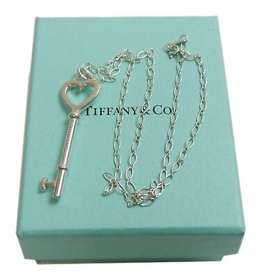 Authentic Tiffany & Co. Necklace Heart Key Silver Sterling Silver #659