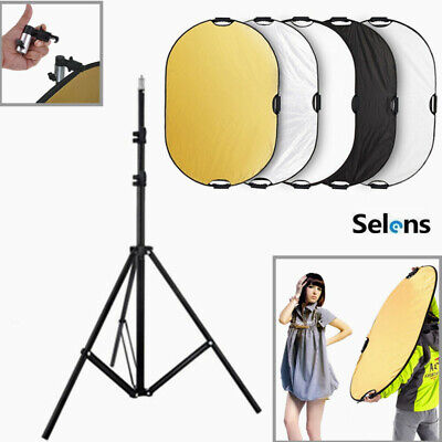 Selens 80x120CM 5 in 1 Photography Reflector +Light Stand +Clamp Clip Holder kit
