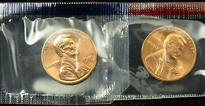 1985 P & D Uncirculated Lincoln Memorial Cent Penny Mint Cello (B01)
