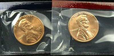 1985 P & D Uncirculated Lincoln Memorial Cent Penny Mint Cello (B03)