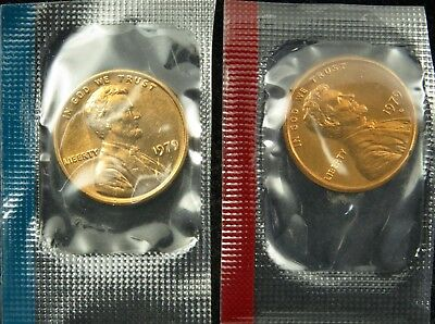 1979 P & D Uncirculated Lincoln Memorial Cent Penny Mint Cello (B01)