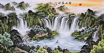 STUNNING ORIGINAL ASIAN ART CHINESE SANSUI WATERCOLOR PAINTING-Waterfall&Boat