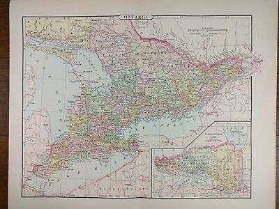 1896 ONTARIO CANADA Map Old Antique Original Historical TORONTO HAMILTON MAPZ