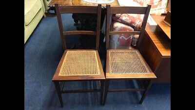 Pair of Edwardian Bedroom Chairs - Antique Cane Solid Wood