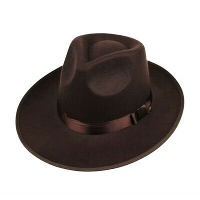 Unisex Wool Felt Fedora Hat Classic Men Wide Brim Jazz Cap for Head Size 58-60cm