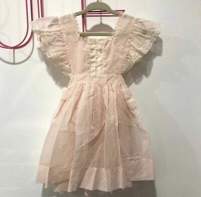Rare Vintage Sheer Pink Swiss Dot Pinafore Party Dress