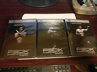 LOT OF (X3) P90X+ DVDs KENPO CARDIO INTERVAL X ABS UPPER CORE WORKOUT FITNESS