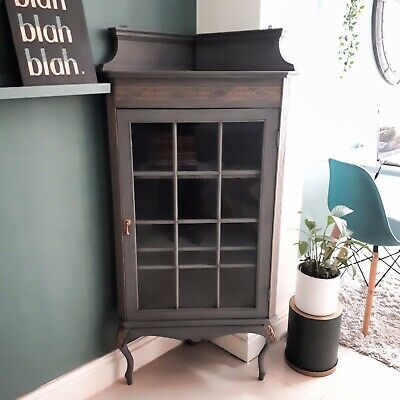 Refurbished Corner Cabinet with Glass Door Antique Grey Gold Queen Anne Legs