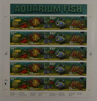 US SCOTT 3317a - 20a PANE OF 20 AQUARIUM FISH OVERALL TAGGING 33 CENT FACE  MNH