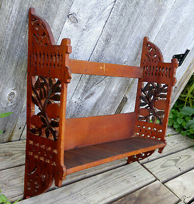 Antique Vintage Scroll Cut Fretwork Fruit Folk Art Knick Knack Wall Shelf