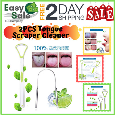 Ess Stainless Steel Tongue Cleaners Scrapers Travel Case Adult Kids Home Clinic