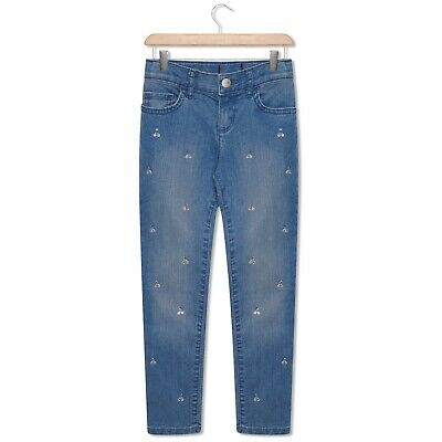 Toddler & Older Girls Skinny Jeans Diamante Embellishment Medium Blue 4-14 Years