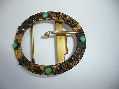 "#1/6/YY vtg  Womens Gold tone w Green Stones  BELT BUCKLE  2 1/2"" x 2"""