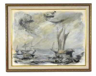 1967 Vintage Mid-Century Modern Oil Painting Abstract Ships at Sea Signed